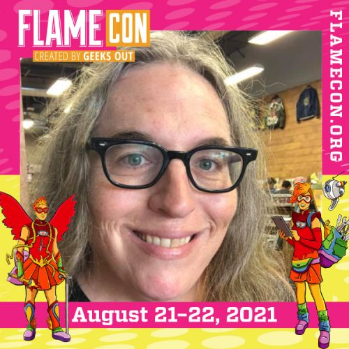 Tara Madison Avery in a hot pink Flame Con 2021 logo frame